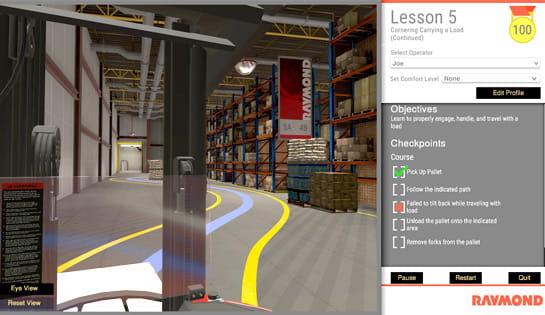 raymond virtual reality simulator, forklift simulator