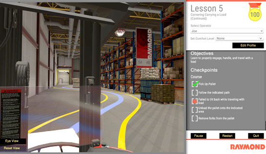 raymond virtual reality simulator, forklift simulator